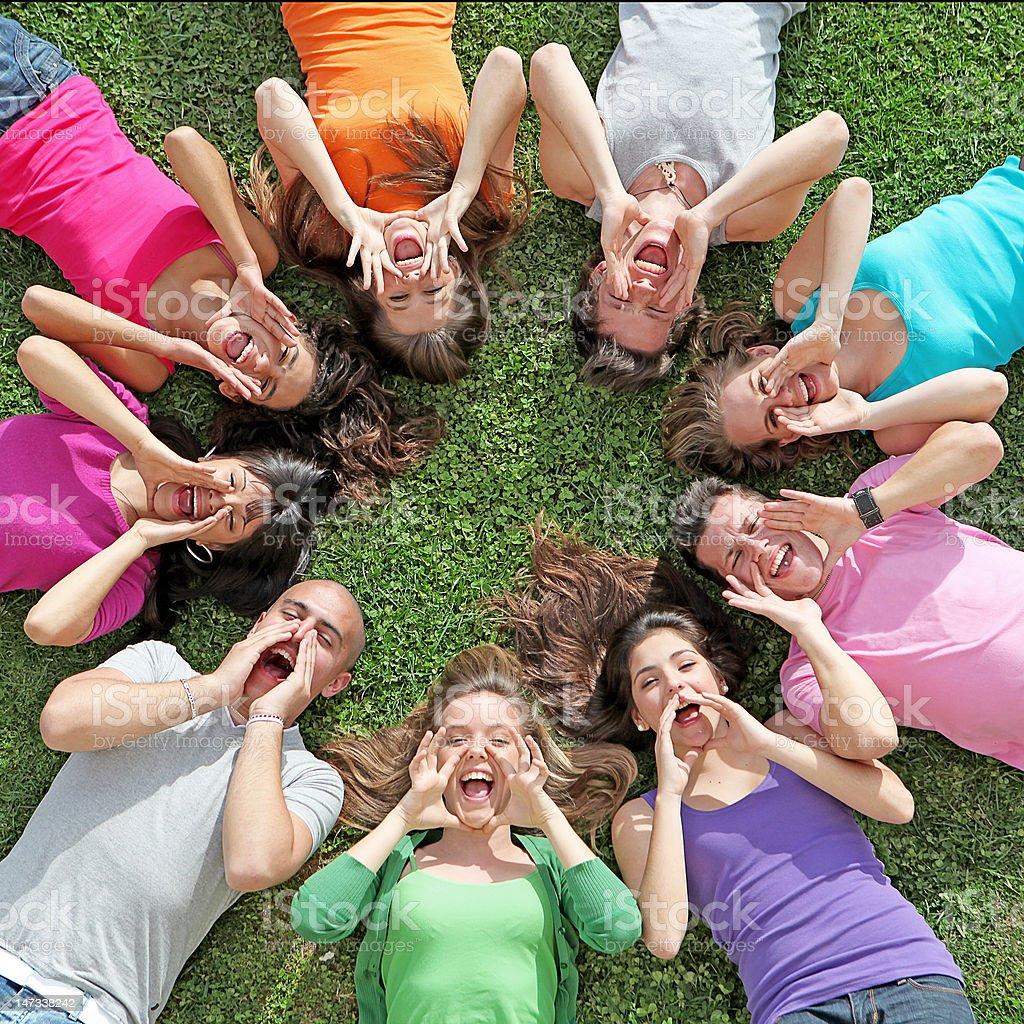 group of teenagers stock photo