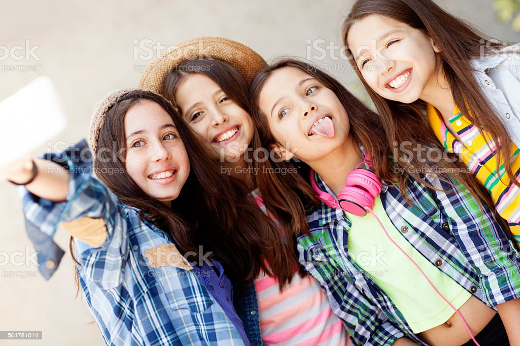 Group of teenagers taking a self portrait stock photo