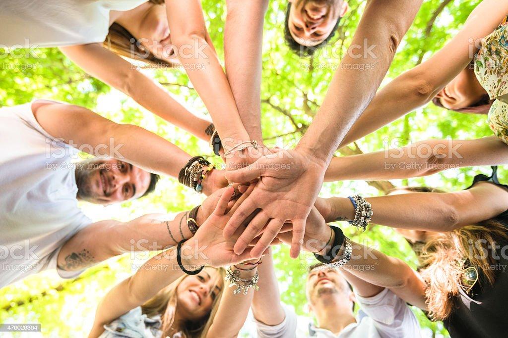 Group of teenagers volunteer happiness stock photo