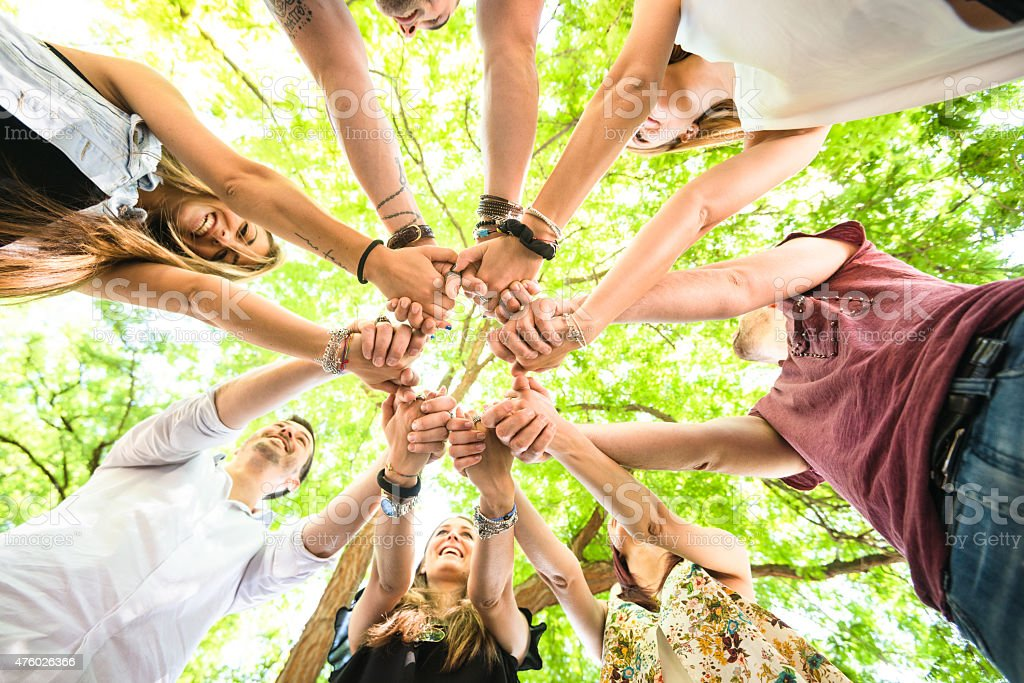 Group of teenagers volunteer happiness stock photo