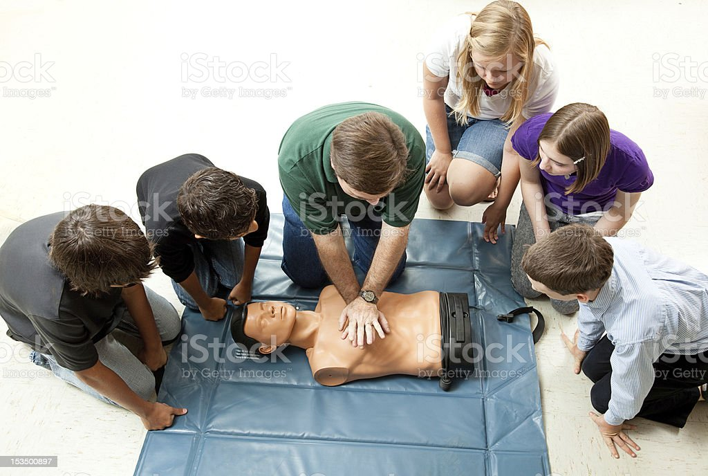 Group of Teens Take CPR Class stock photo