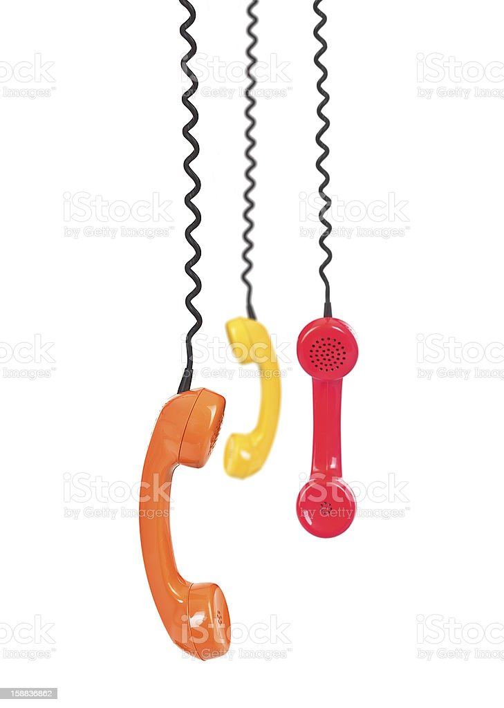 group of telephone receivers royalty-free stock photo