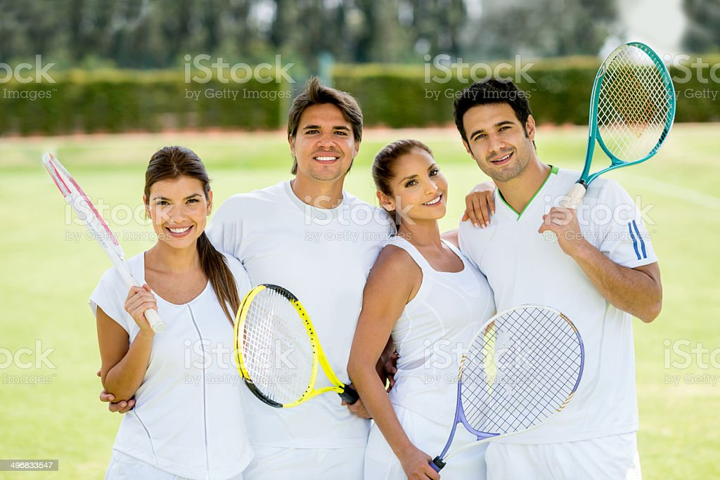 Group of tennis players stock photo