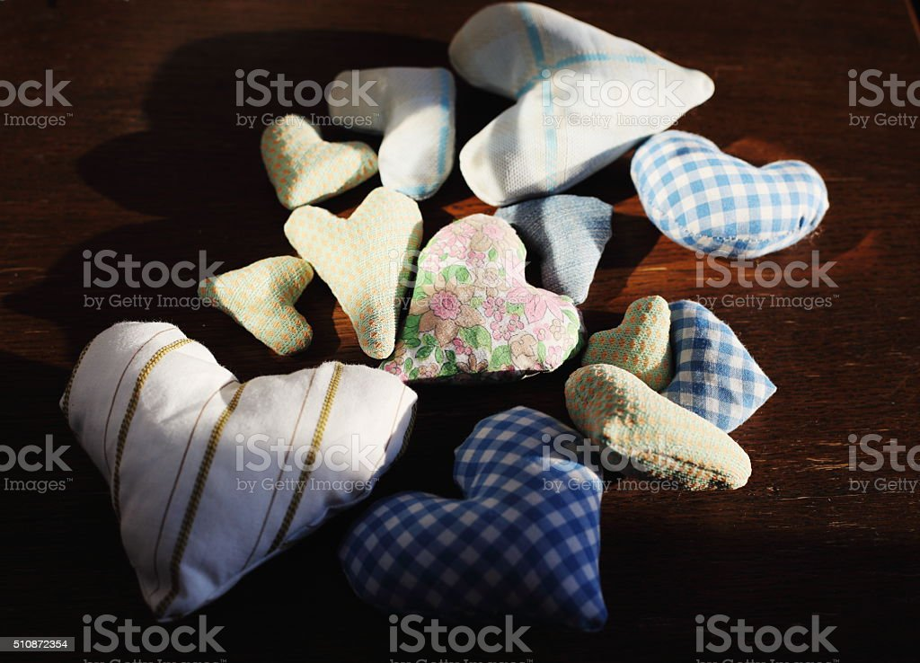 Group of textile hearts royalty-free stock photo