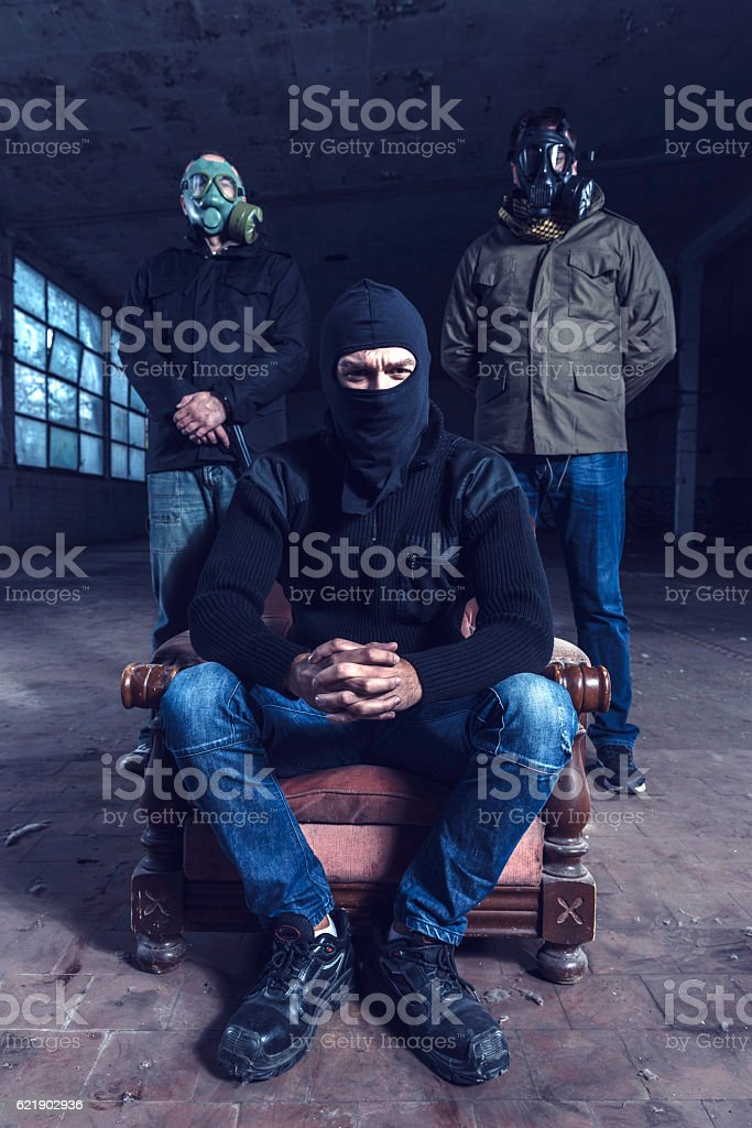 Group of the criminals stock photo