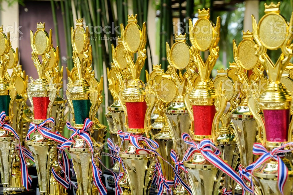 Group of the golden trophies stock photo