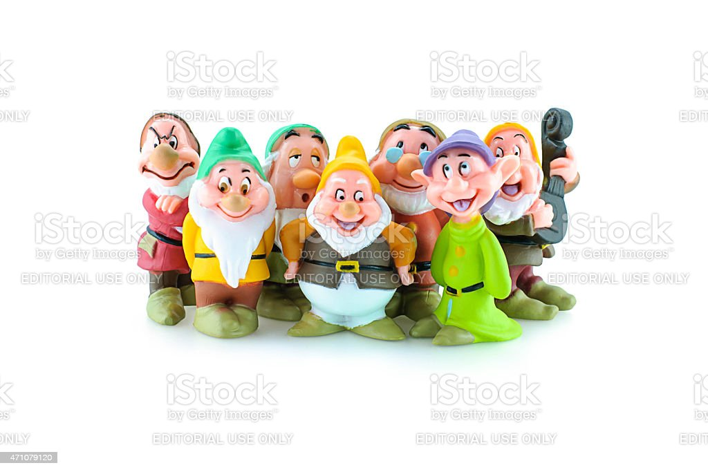 Group of the Seven Dwarfs toy figure. stock photo