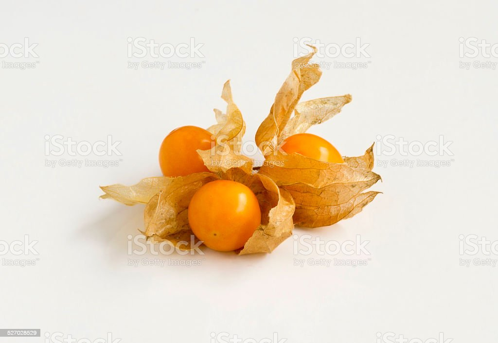 Group of three Cape Gooseberries isolated on white background stock photo