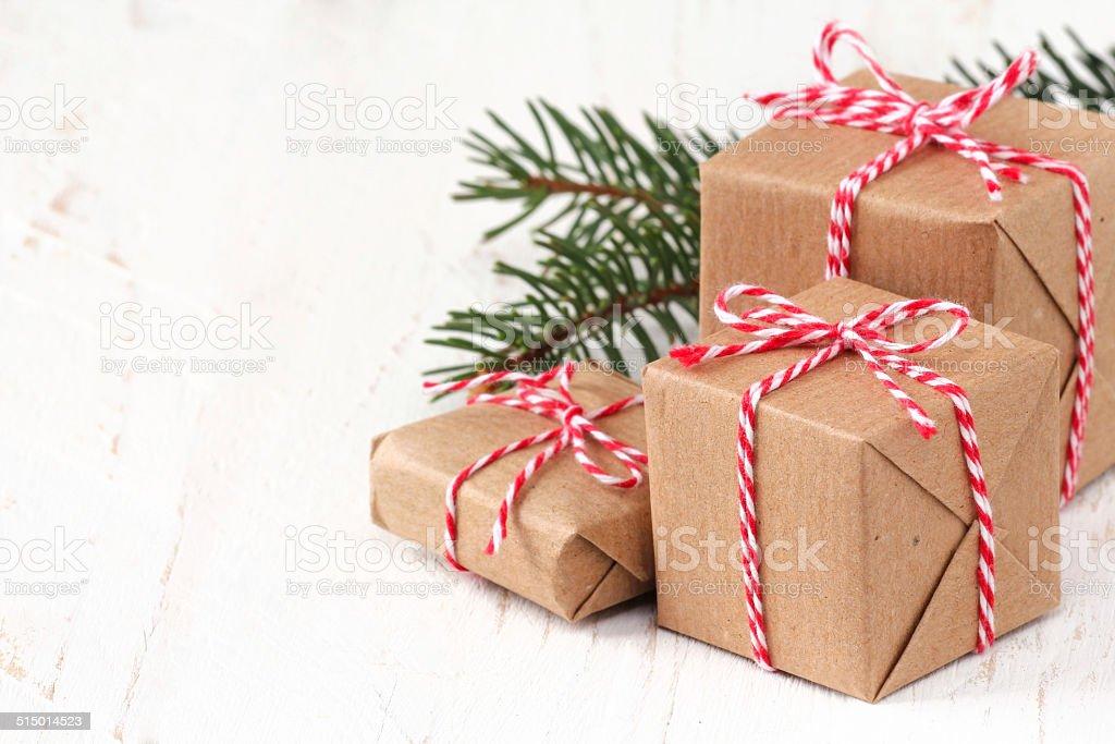 Group of three Christmas presents stock photo