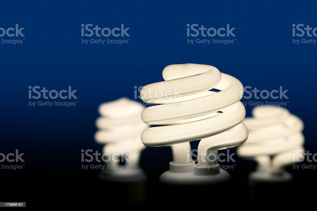 Group of Three Energy Efficient Light Bulbs stock photo