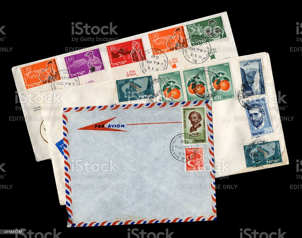 Group of three envelopes from Israel royalty-free stock photo