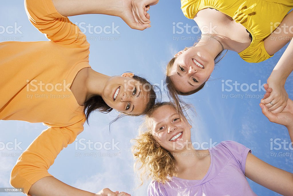 Group of three friends royalty-free stock photo