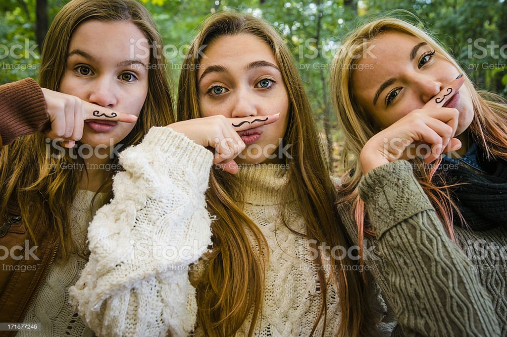 Group of three girls for Movember! royalty-free stock photo