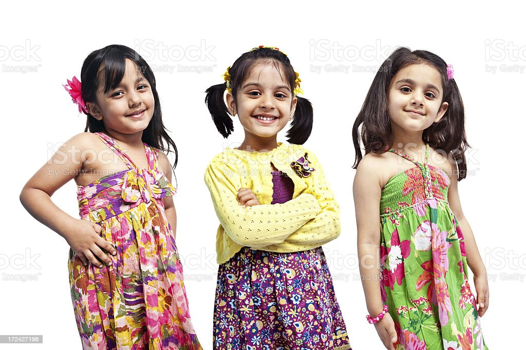 Group of Three Indian Girls Only Isolated on White royalty-free stock photo