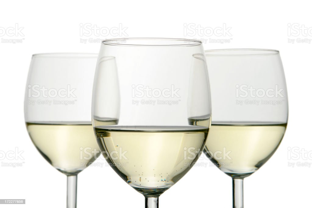 Group of three wine glasses isolated on white royalty-free stock photo