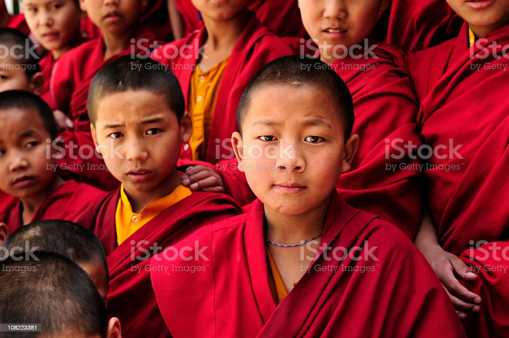 Group of Tibetan Children Buddhist Monks stock photo