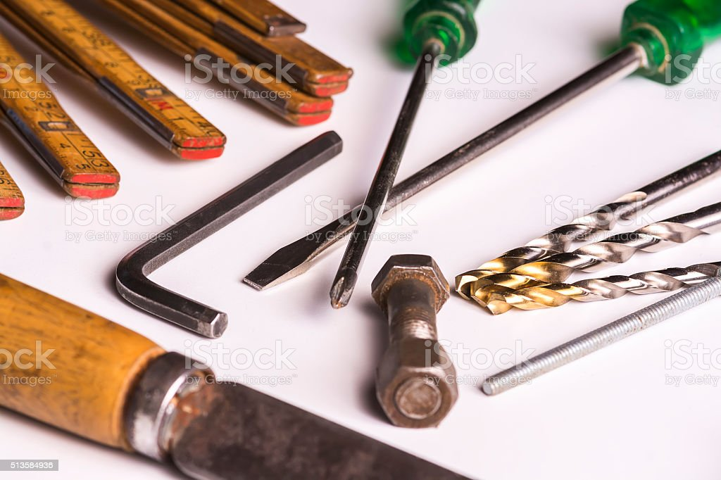 Group of tools used in a carpentry. stock photo