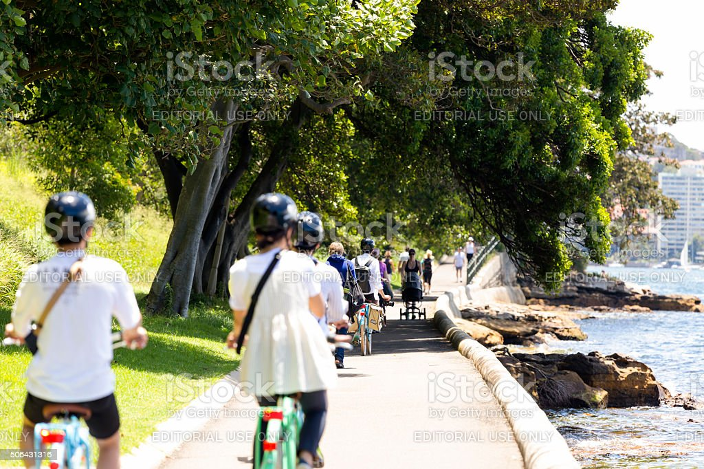 Group of tourist riding in the park in Sydney Australia stock photo
