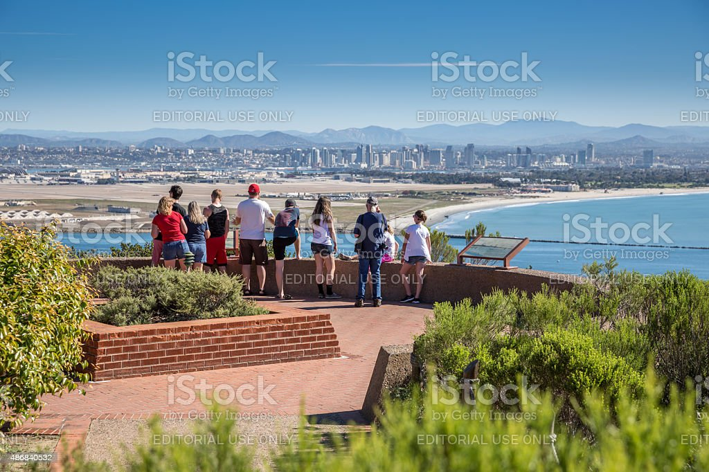 Group of tourists at Cabrillo National Monument, San Diego stock photo