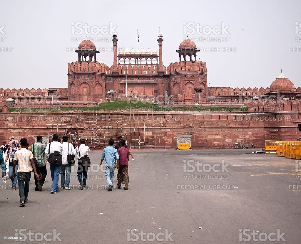 Group of tourists going to visit the Red Fort stock photo