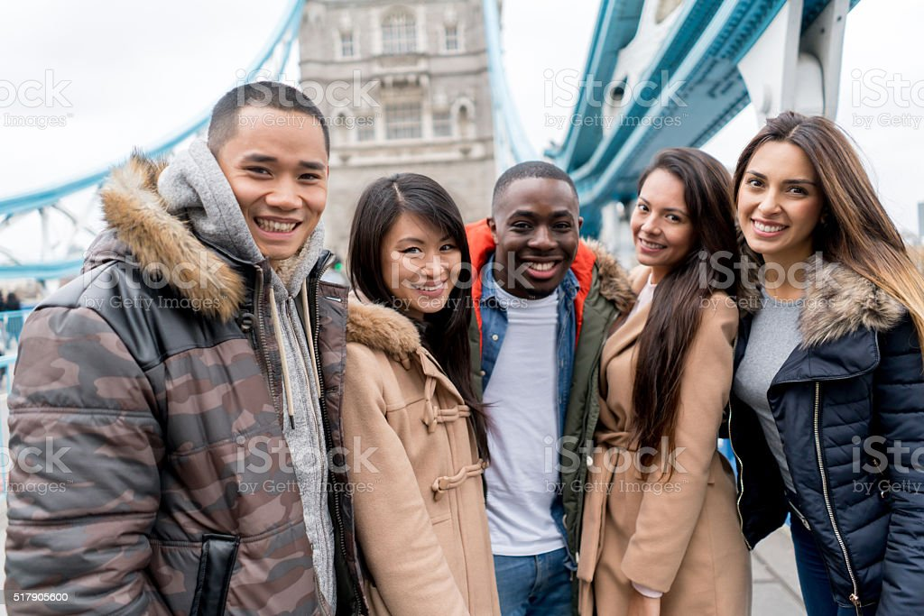Group of tourists sightseeing in London stock photo