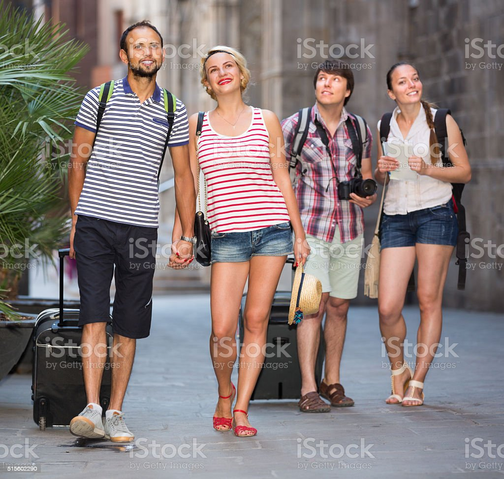 Group of tourists watching landmark stock photo
