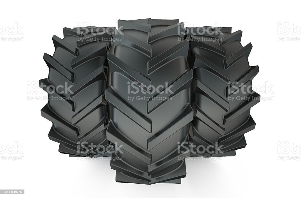 Group of tractor tyres stock photo
