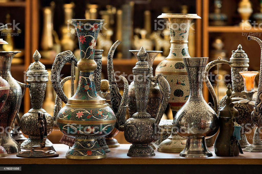 Group of traditional turkish tea pot at Grand Bazaar, Istanbul. stock photo