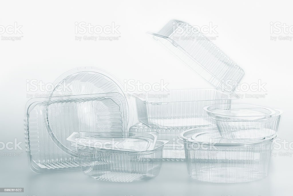 Group of transparent plastic containers box food package on white stock photo