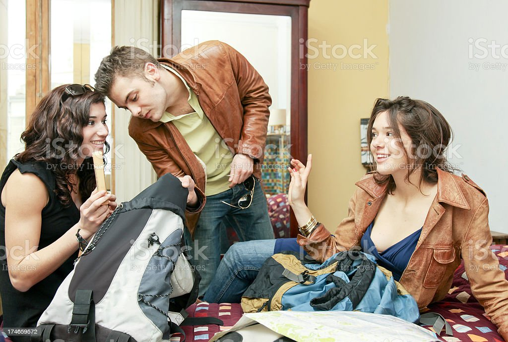 Group of traveling young people at their hotel royalty-free stock photo