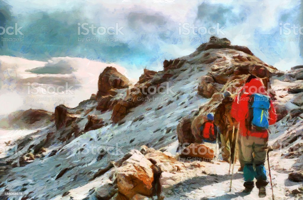 Group of trekkers hiking among snows of Kilimanjaro mountain stock photo
