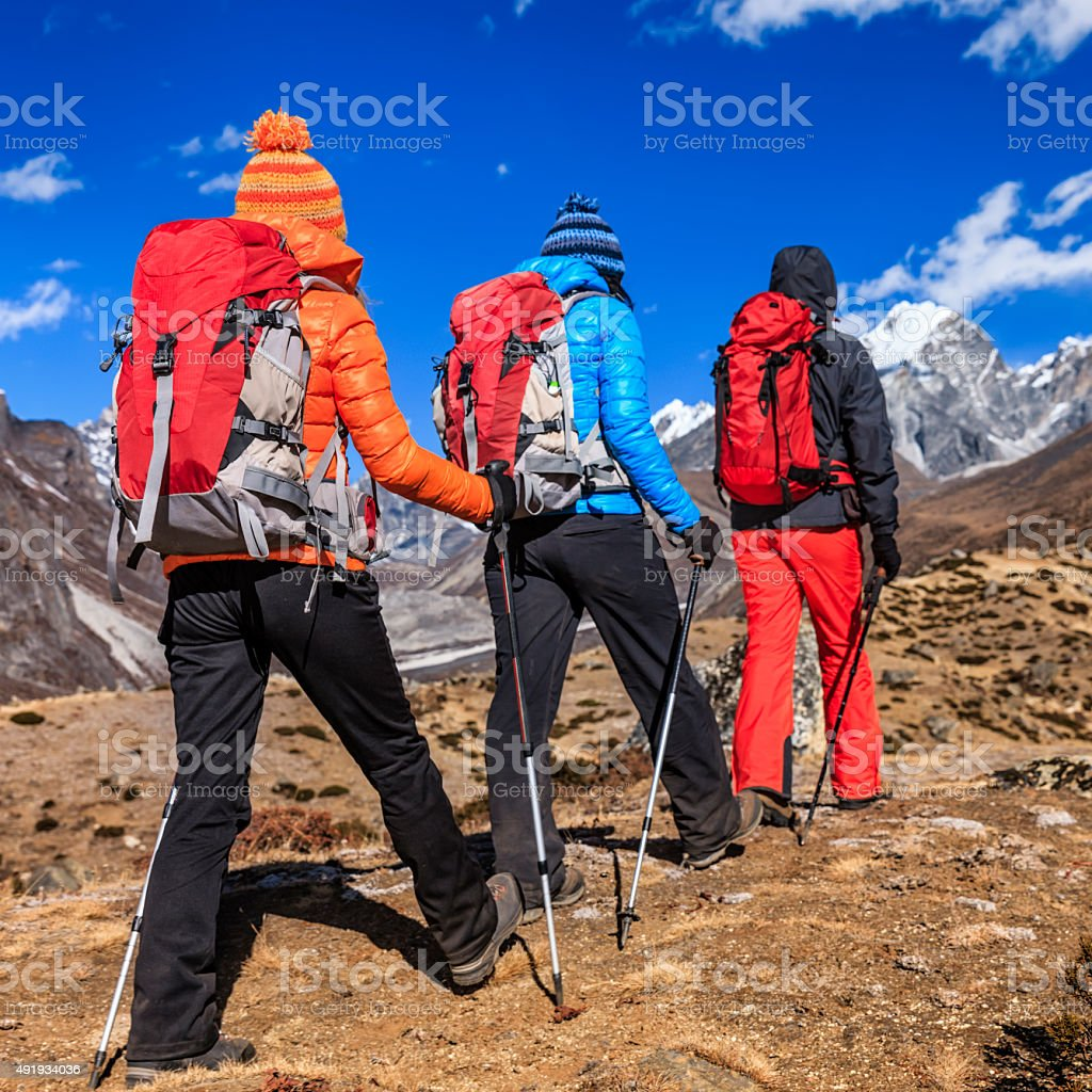 Group of trekkers in Himalayas, Mount Everest National Park stock photo