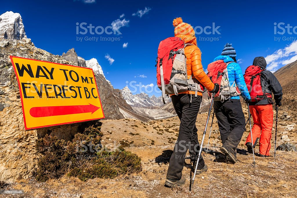 Group of trekkers on the way to Everest Base Camp stock photo
