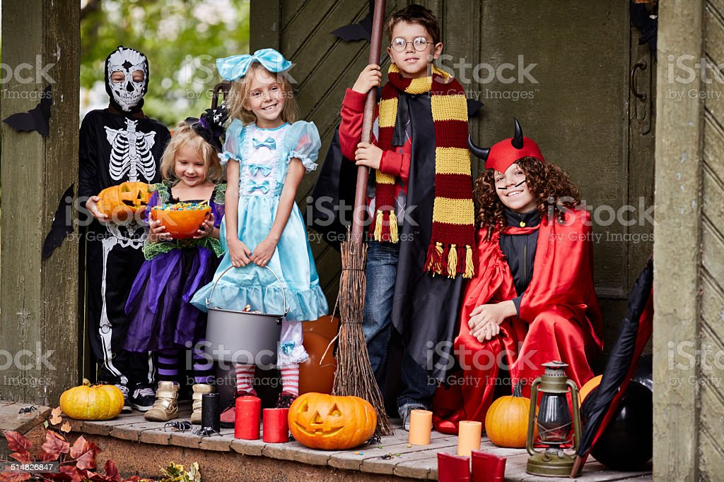 Group of trick or treaters stock photo