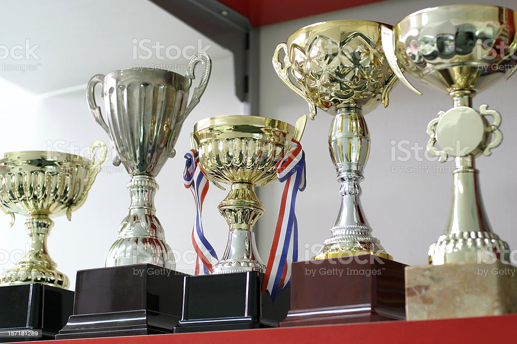 Group of Trophies stock photo