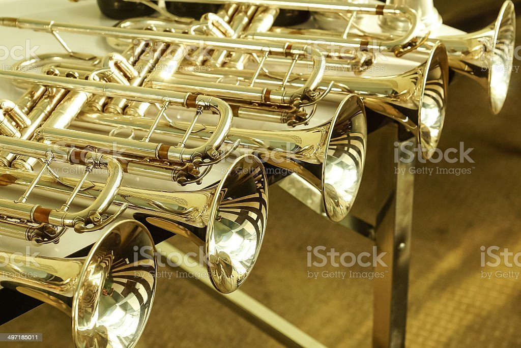 Group of trumpets. stock photo