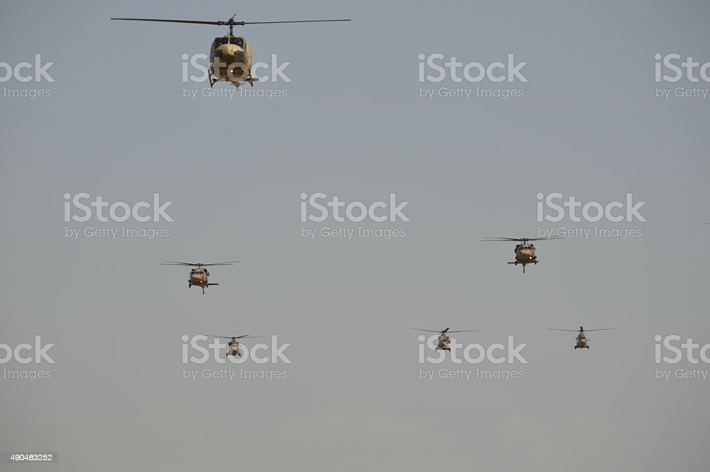 Group of Turkish Army Helicopters stock photo