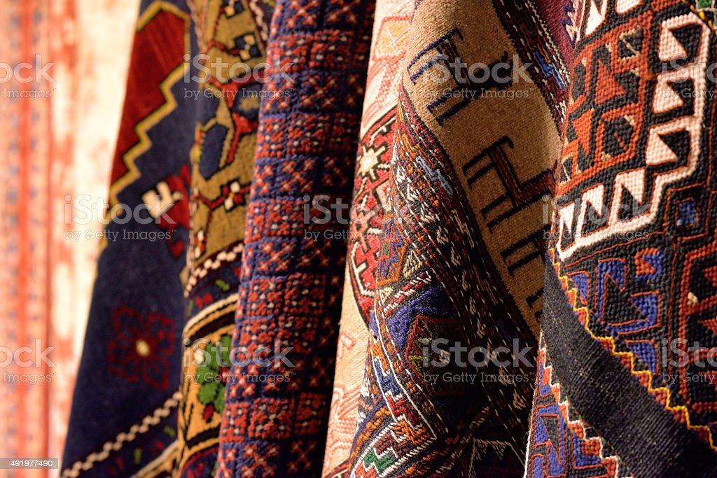 Group of turkish carpets. stock photo