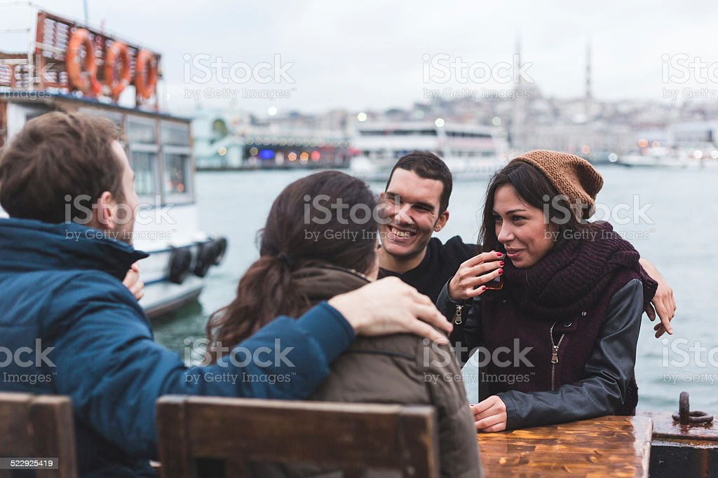 Group of Turkish Friends Drinking Cay, Traditional Tea stock photo