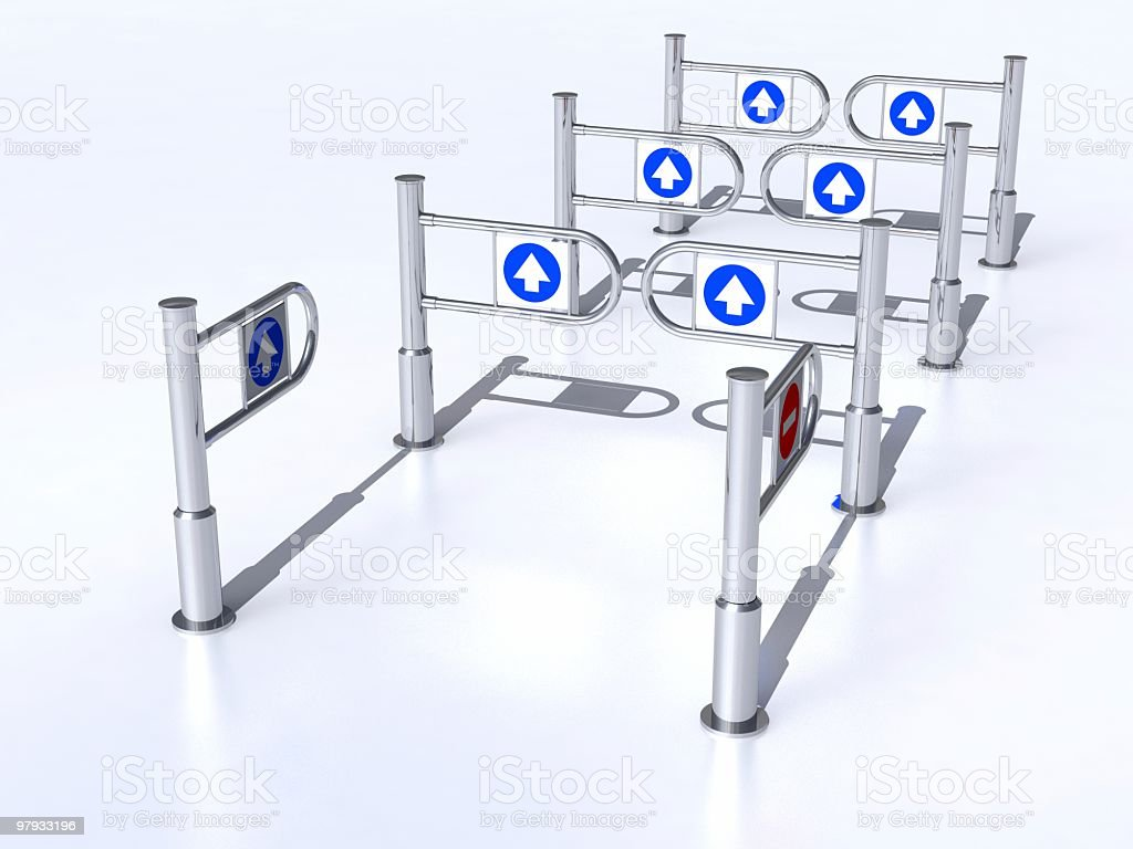 3D group of turngate stock photo