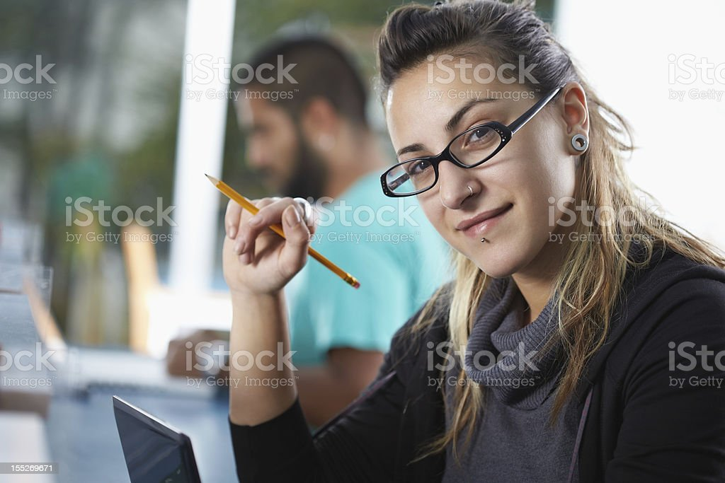 group of two people in library royalty-free stock photo