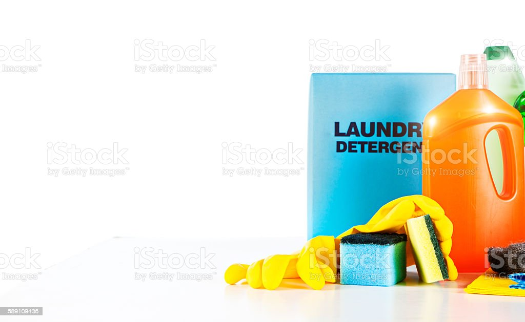 Group of unbranded household cleaning products on white stock photo