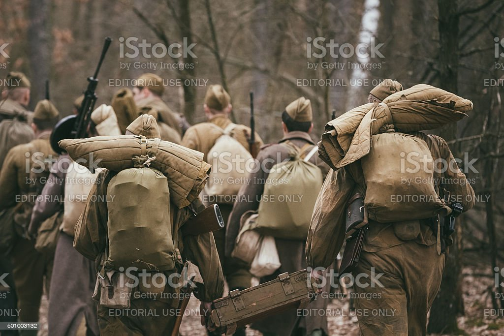 Group of unidentified re-enactors dressed as Russian Soviet sold stock photo
