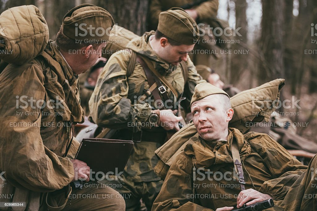 Group of unidentified re-enactors dressed as Soviet soldiers stock photo