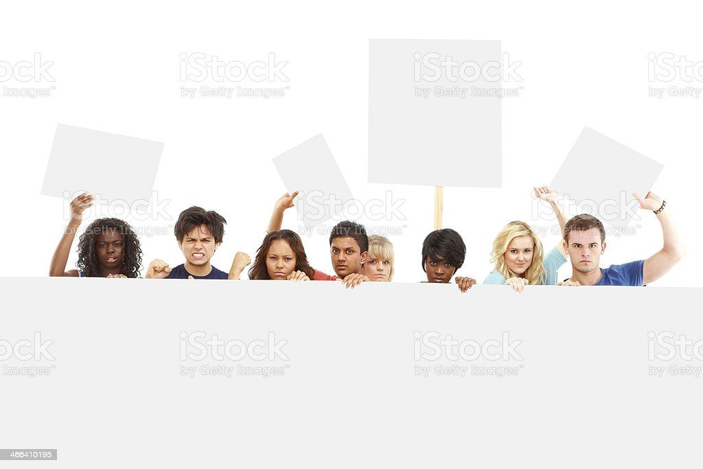Group of university students protesting stock photo
