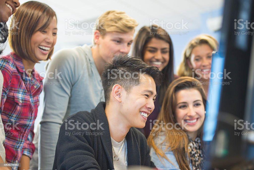 Group of university studetns stock photo
