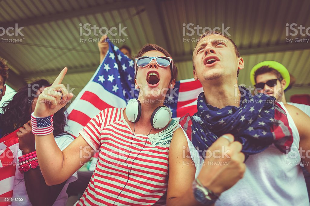 Group of Usa supporters stock photo