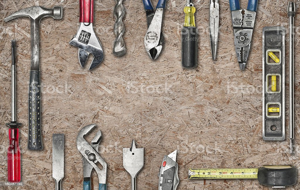 Group of used tools on wood royalty-free stock photo