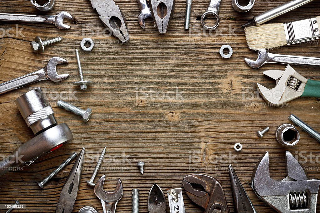 Group of used tools stock photo