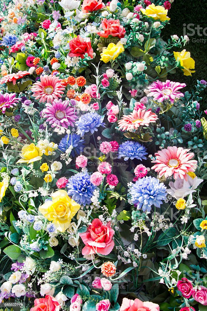 Group of various colorful beautiful artificial flower stock photo